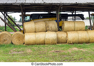 Straw bales - stacked straw bales