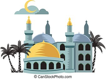 Yellow Dome Mosque - Vector illustration of yellow dome...