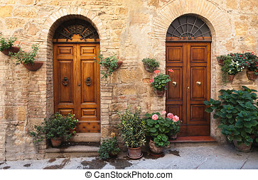 Doors detail from the medieval town Pienza in italy - Pienza...