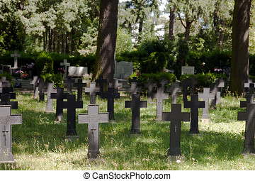 Crosses over german graves from ww1 - Graves in Wroclaw,...