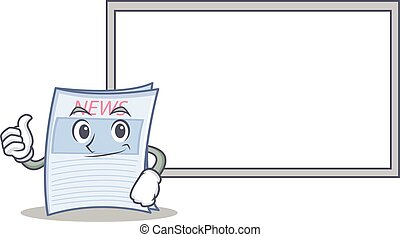Thumbs up with board newspaper character cartoon style