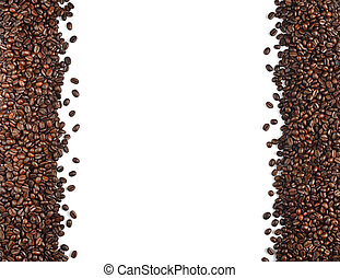 Coffee beans isolated on white background,white space can be...