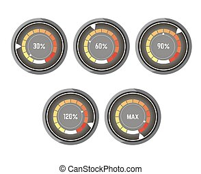 Black round speedometer with colorful indicator of speed...