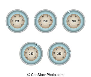 Old-fashioned speedometer with numbers in circle and pointer...