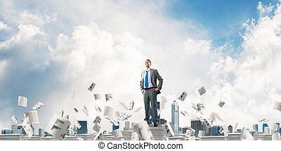 Successful confident businessman in suit. - Confident...