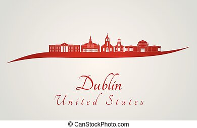 Dublin, CA skyline in red and gray background in editable...