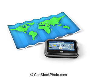 World map with GPS