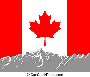 Mountains with flag of Canada