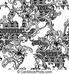 Eclectic fabric seamless pattern. Ethnic background with...