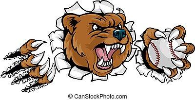 Bear Holding Baseball Ball Breaking Background