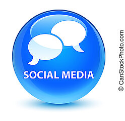 Social media (chat bubble icon) glassy cyan blue round...