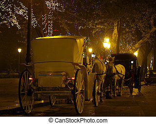 Carriage with horses in night - Carriage with horses on...