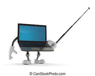 Laptop character holding pointer stick isolated on white...