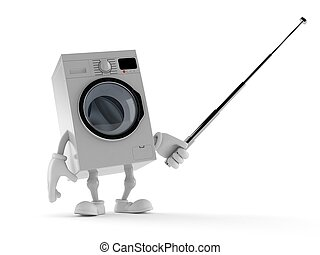 Washer character holding pointer stick isolated on white...