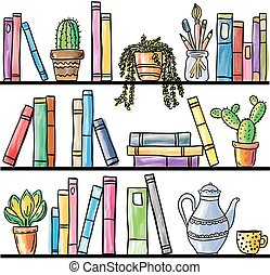 Book shelf seamless pattern