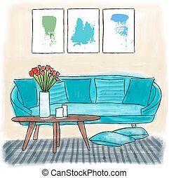 Living room colored painting