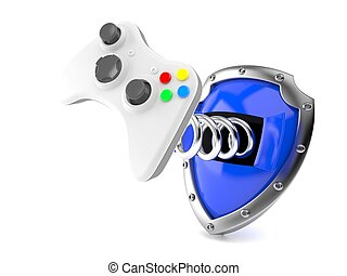 Shield with game pad isolated on white background