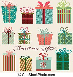 Collection of vector Christmas gifts for design