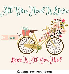 Cute save the date card or valentine with bicycle and...