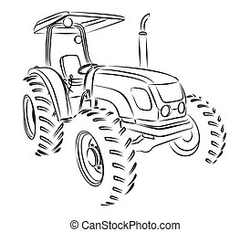tractor Sketch. - A tractor sketch with open top.