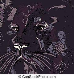 Lion illustration in dark colors for design.eps - Lion...