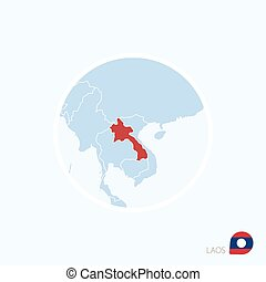 Map icon of Laos Blue map of Southeast Asia with highlighted...