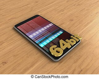 3d hex data - 3d illustration of mobile phone over wooden...