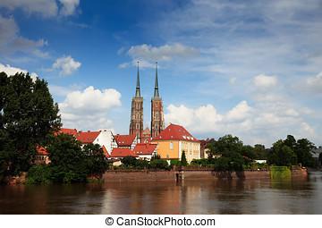 Wroclav, Katedra, Domkyrka, sett, flod, Oder