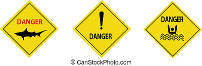sea danger signs collection vector isolated on white