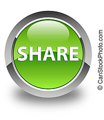 Share glossy green round button