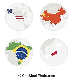 USA, China, Brazil, Japan map contour and national flag in a circle.