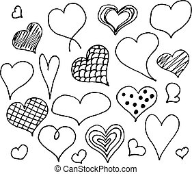Valentines day hearts doodles set. Romantic stickers...