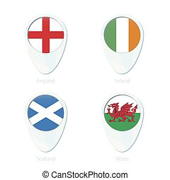 England, Ireland, Scotland, Wales flag location map pin icon.