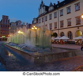 Wroclaw, fontän, stad, fyrkant