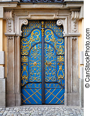 Ornamented door Entrance door to University building,...