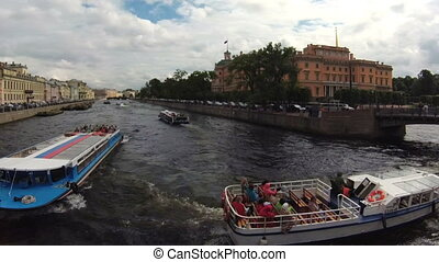 timelapse Russia St. Petersburg canals and river ships...