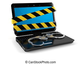 Laptop with handcuffs