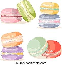 Macaron set different taste and colour vector illustration