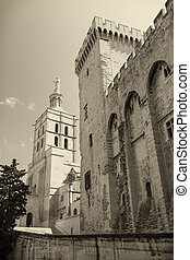 Papal palace in Avignon (France) - Monochromatic photo of...