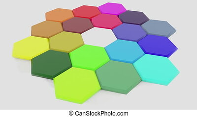 Rotating polygons in different colors