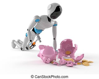 Android with piggy bank