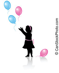 little girl with flying colored balloons - silhouette of...