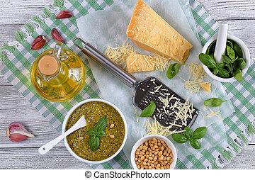 homemade green sauce pesto with basil - delicious homemade...