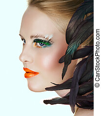beauty with green eyelashes - beautiful woman with artistic...