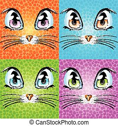 Set with colorful cats.