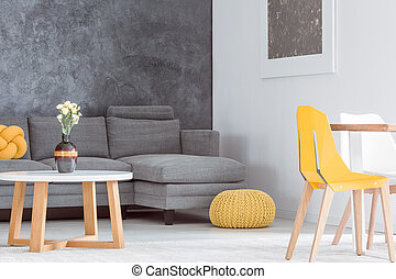 Living room with yellow equipment