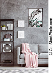 Grey sofa with pink coverlet - Typewriter and vinyl on shelf...