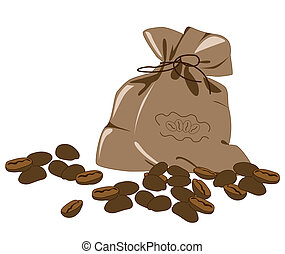coffee beans and bag on a white background