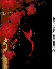 floral background with red flowers and humming-bird on a...