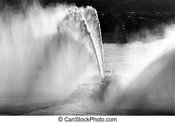 A fireboat in Hudson river, NYC